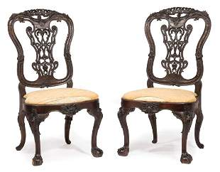 Pair of Irish Rococo Mahogany Side Chairs