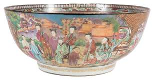 Chinese Export Porcelain Punch Bowl