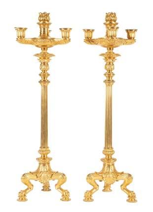 Charles X Gilt Bronze Three-Light Candelabra