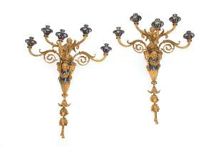 Champleve and Gilt Bronze Sconces