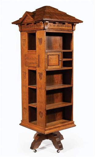 Quarter Sewn Oak Revolving Bookcase