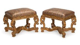 Pair Continental Carved Giltwood Benches
