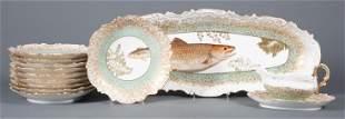 Tressemanes & Vogt Decorated Limoges Fish Service