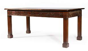Carved Chippendale-Style Mahogany Library Table