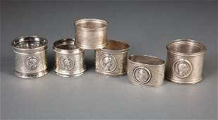 Six Medallion Coin Silver Napkin Rings