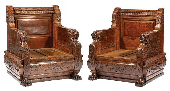 Herter Brothers Carved Oak Throne Chairs