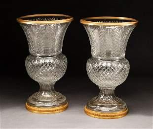 Gilt Bronze-Mounted Cut Glass Urns