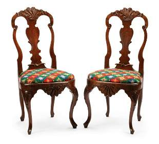 Dutch Colonial Carved Mahogany Side Chairs