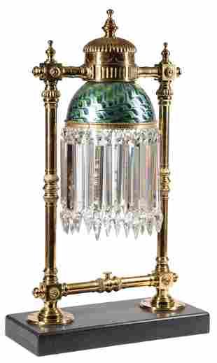 C.M. Hammar Brass and Art Glass Banquet Lamp