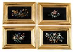 Four Framed Pietra Dura Plaques
