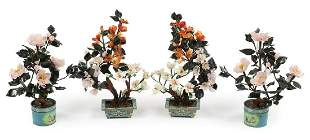 Two Pairs of Chinese Hardstone Trees Set