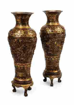 Large Chinese Bronze and Mixed Metal Vases
