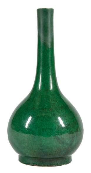 Chinese Green Glazed Porcelain Bottle Vase