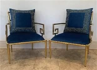 Pair of Mastercraft Greek Key Lounge Chairs