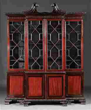 Carved Mahogany Breakfront Bookcase