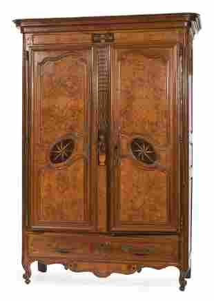 French Inlaid and Burl Walnut Armoire