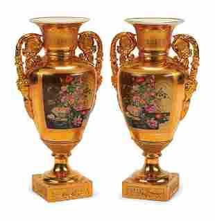 Gilt and Polychrome Porcelain Amphora Vases
