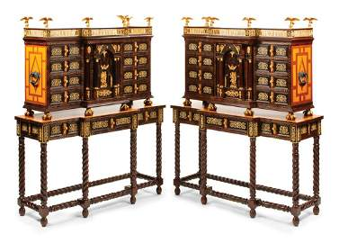 Pair Spanish Bronze-Mounted Varguenos on Stand