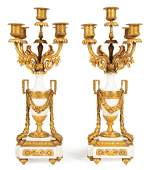 French Gilt-Bronze Mounted Marble Candelabra