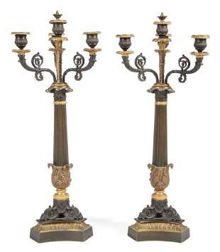 Gilt and Patinated Bronze Candelabra