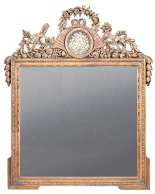 Federal-Style Eglomise Panel Overmantel Mirror