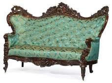 Pair American Rococo Carved Rosewood Settees