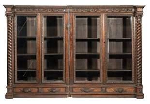 American Renaissance Carved Oak Two-Piece Cabinet