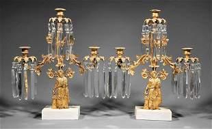 American Gilt Brass Three-Light Girandoles