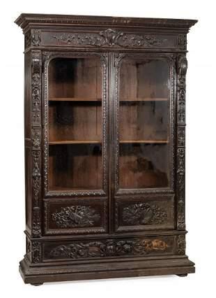 American Renaissance Carved Oak Cabinet