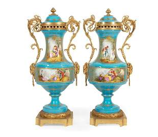 Gilt Bronze-Mounted Sevres-Style Covered Urns
