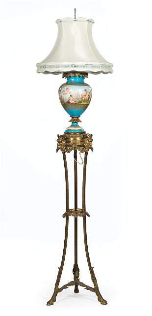 Gilt Bronze-Mounted Sevres-Style Porcelain Lamp