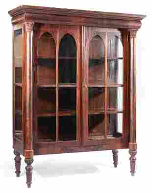 American Carved Mahogany Vitrine Cabinet