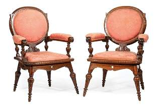 Pair of Renaissance Carved Walnut Armchairs