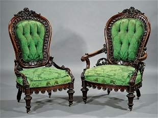 Rococo Rosewood and Grained Parlor Chairs