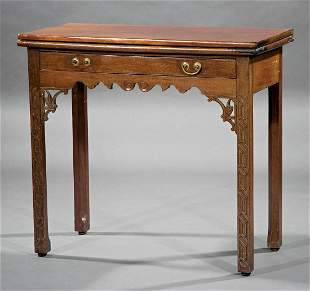 Chippendale-Style Carved Mahogany Games Table