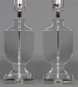 Pair of Contemporary Glass Urn-Form Table Lamps