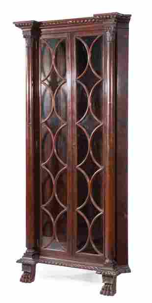 Late Classical Carved Mahogany Corner Cabinet