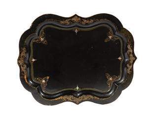 English Abalone Inlaid Papier-Mache Tray