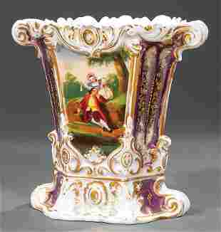 Paris Polychrome and Gilt Porcelain Flare Vase
