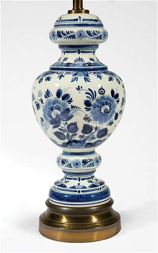Delft-Style Blue and White Porcelain Lamp