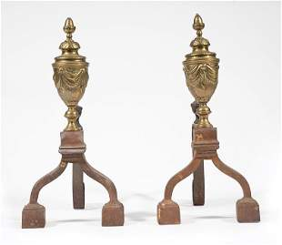 Continental Brass and Wrought Iron Andirons