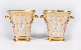 Paris Gilt and Polychrome Porcelain Vases