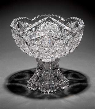 American Brilliant Cut Glass Punch Bowl on Stand
