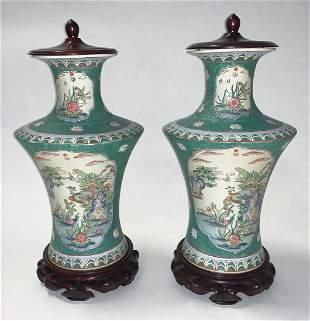 Chinese Famille Verte-Style Porcelain Vases