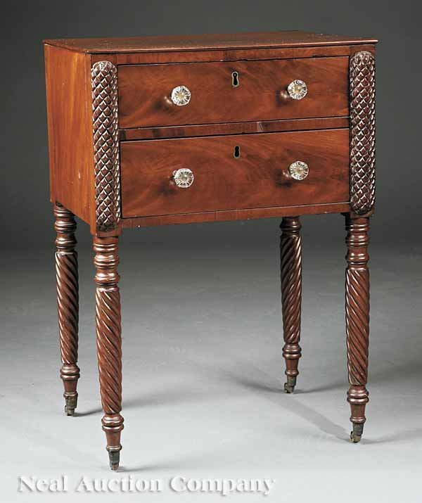 0001: American Classical Carved Mahogany Work Table