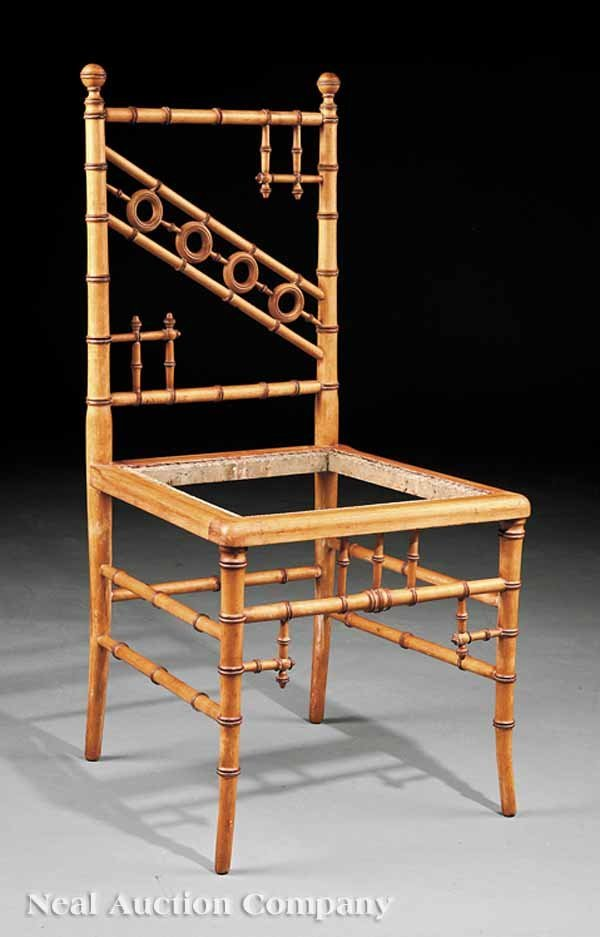 0002: R.J. Horner Faux Bamboo Maple Side Chair