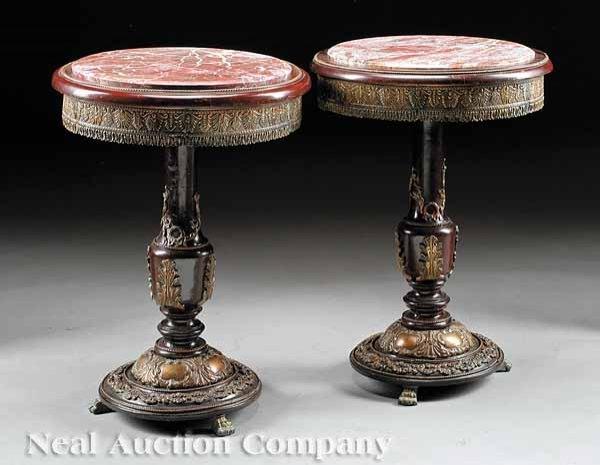 0006: Pair of Bronze-Mounted Mahogany Gueridons