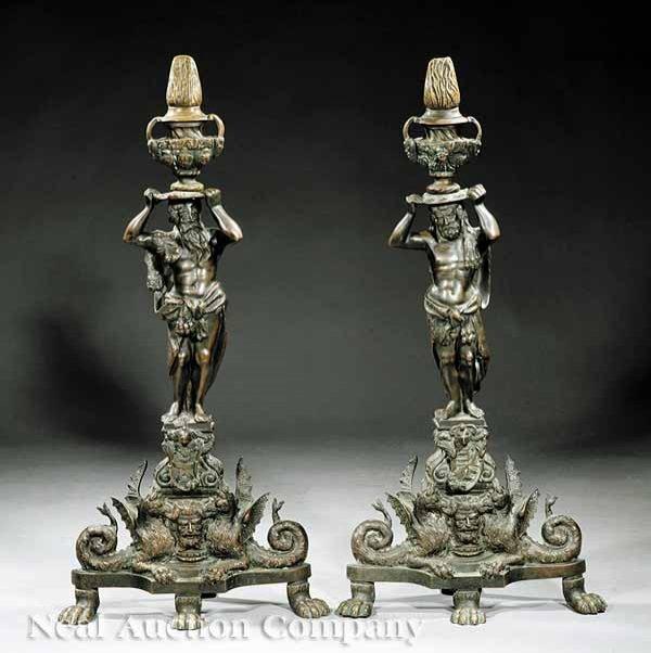 0013: Antique Renaissance-Style Patinated Andirons