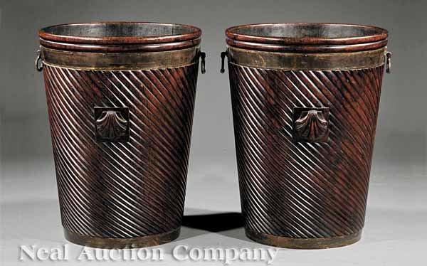 0014: Irish Carved Mahogany Brass-Bound Peat Buckets