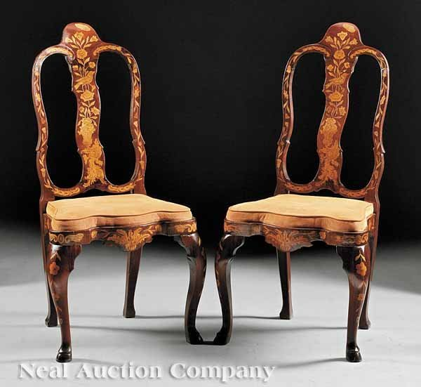 0017: Pair of Dutch Marquetry Side Chairs